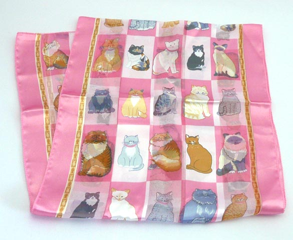 猫好きのおしゃれのアクセントに 全商品オープニング価格 ねこスカーフ ピンク 猫柄ロングスカーフ ランキングTOP5