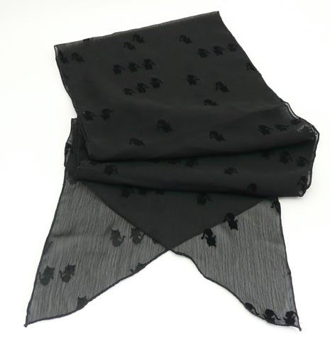 買い物 フロッキープリントの猫柄の薄手のスカーフ ねこスカーフ アウトレットセール 特集 ロングスカーフ ブラック 黒猫シルエット