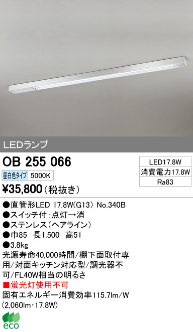 OB255066LEDキッチンライト スイッチ付 非調光 昼白色 FL40W相当オーデリック 照明器具 キッチン・オープンキッチン向け インテリア照明