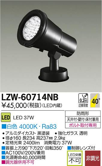 LZW-60714NB 大光電機 施設照明 アウトドア LEDハイパワースポットライト LZ3 白色