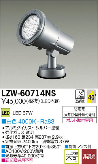 LZW-60714NS 大光電機 施設照明 アウトドア LEDハイパワースポットライト LZ3 白色