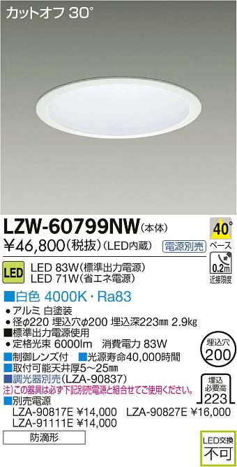 LZW-60799NW 大光電機 施設照明 アウトドア LEDダウンライト LZ6 白色
