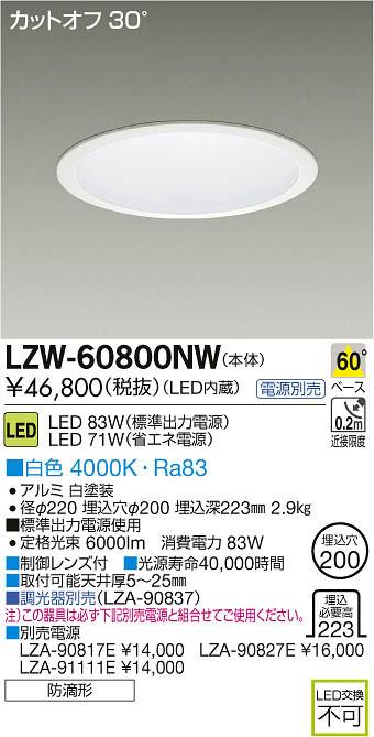 LZW-60800NW 大光電機 施設照明 アウトドア LEDダウンライト LZ6 白色