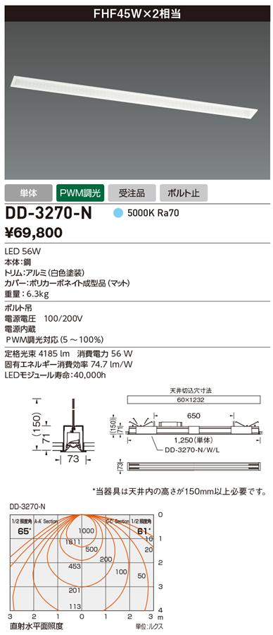 DD-3270-N 山田照明 照明器具 LED一体型ベースライト システムレイ プロ 調光 FHF45W×2相当 単体 昼白色