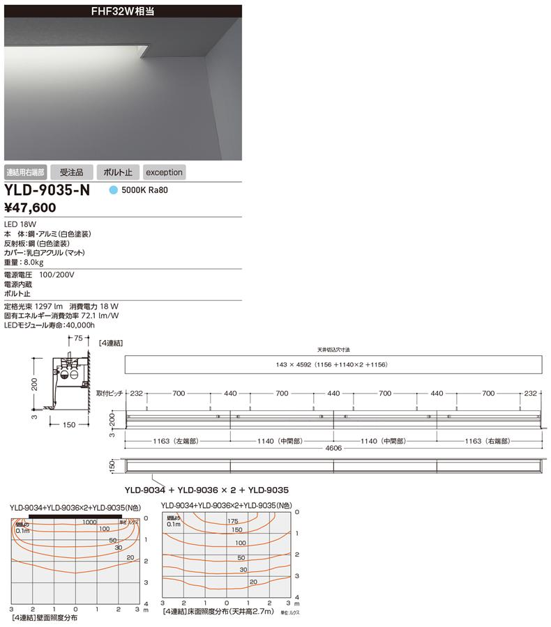 YLD-9035-N 山田照明 照明器具 LED一体型アンビエントライト ウォールスロット7 コーブ照明システム 埋込タイプ 非調光 FHF32W相当 連結用右端部 昼白色