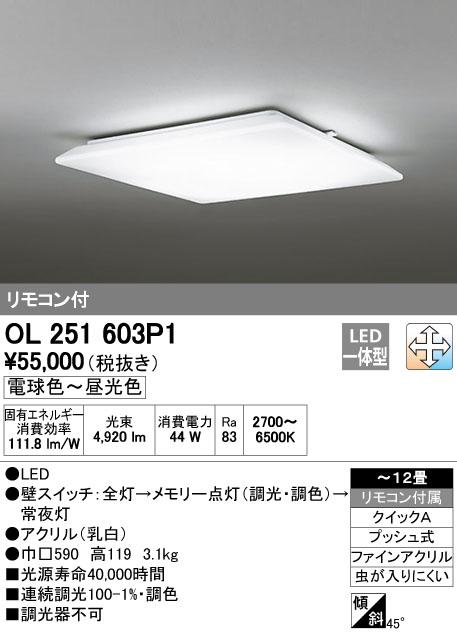 OL251603P1 オーデリック 照明器具 LEDシーリングライト LED ECO BASIC 調光・調色タイプ リモコン付 【~12畳】