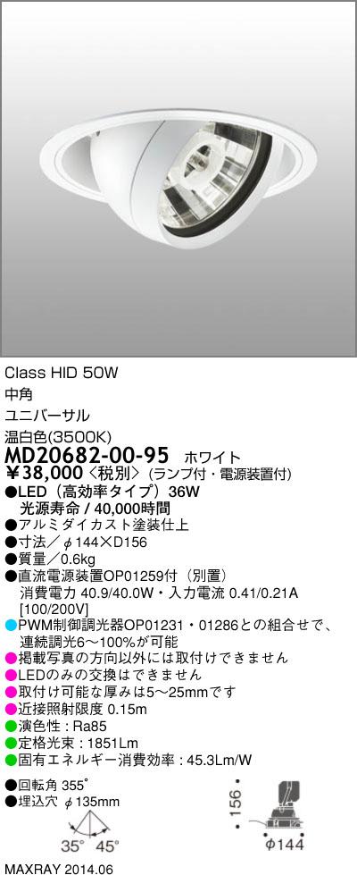 MD20682-00-95 マックスレイ 照明器具 INFIT LEDユニバーサルダウンライト 高効率 中角 温白色 HID50Wクラス