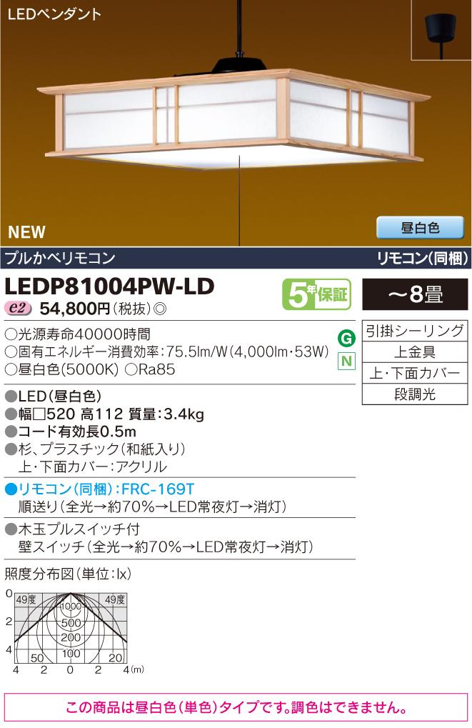 LEDP81004PW-LD 東芝ライテック 照明器具 和風照明 プルかべリモコン LEDペンダントライト 雅角 昼白色・段調光 【~8畳】