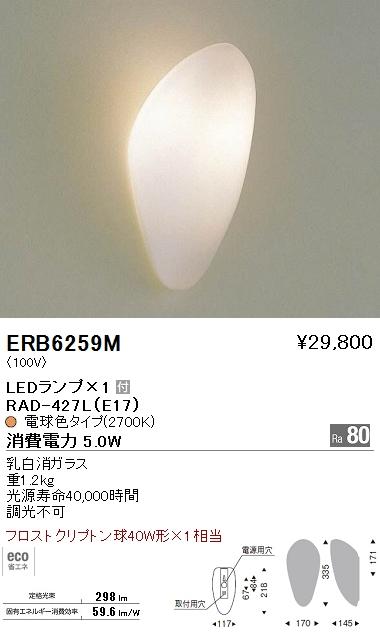 ERB6259M 遠藤照明 照明器具 LEDブラケットライト 電球色 フロストクリプトン球40W形×1相当 ERB-6259M