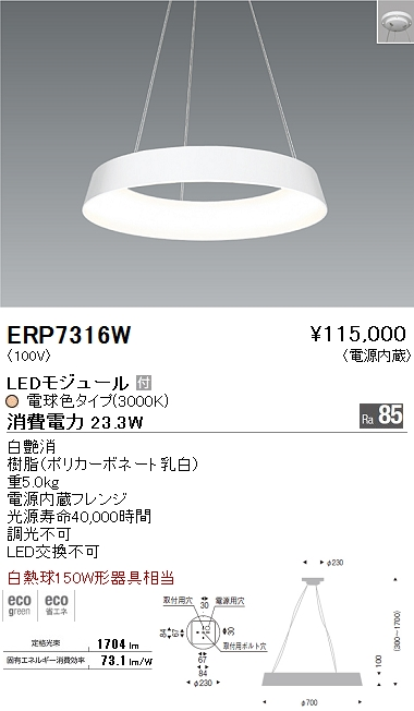 ERP-7316W 遠藤照明 照明器具 LEDペンダントライト 白熱球150W形器具相当