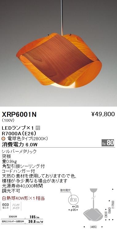 XRP-6001N 遠藤照明 照明器具 AbitaExcel LEDペンダントライト 白熱球40W形×1相当