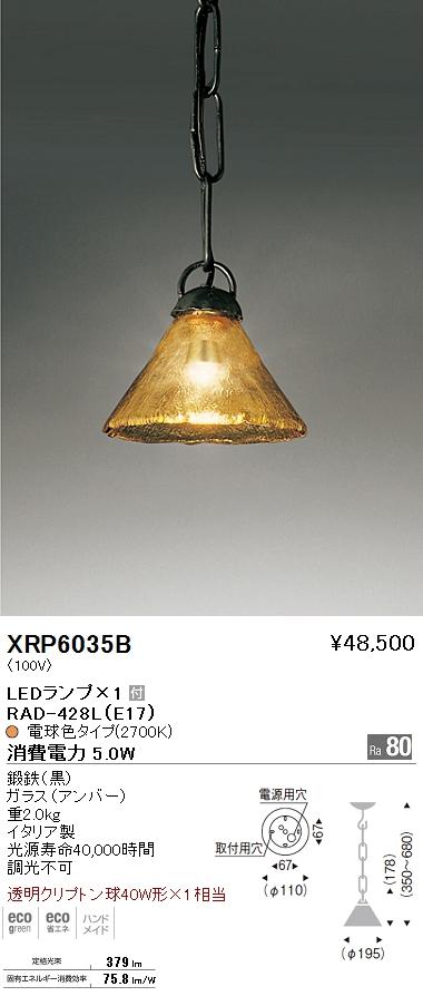 XRP-6035B 遠藤照明 照明器具 AbitaExcel LEDペンダントライト 透明クリプトン球40W形×1相当