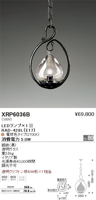 XRP-6036B 遠藤照明 照明器具 AbitaExcel LEDペンダントライト 透明クリプトン球40W形×1相当