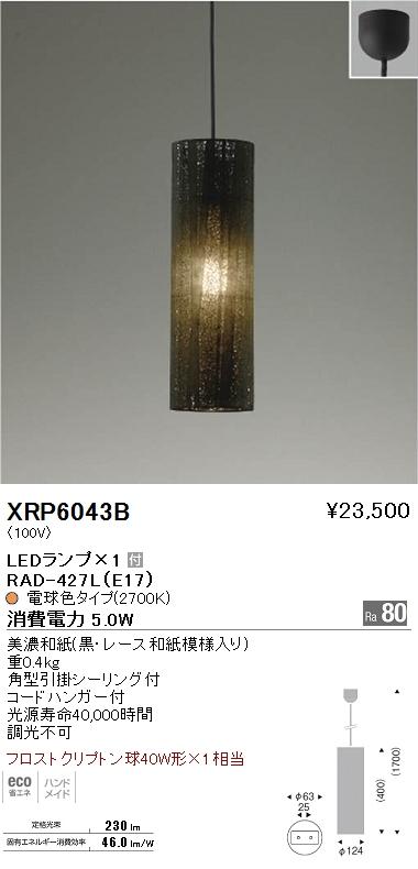 XRP-6043B 遠藤照明 照明器具 AbitaExcel LEDペンダントライト フロストクリプトン球40W形×1相当