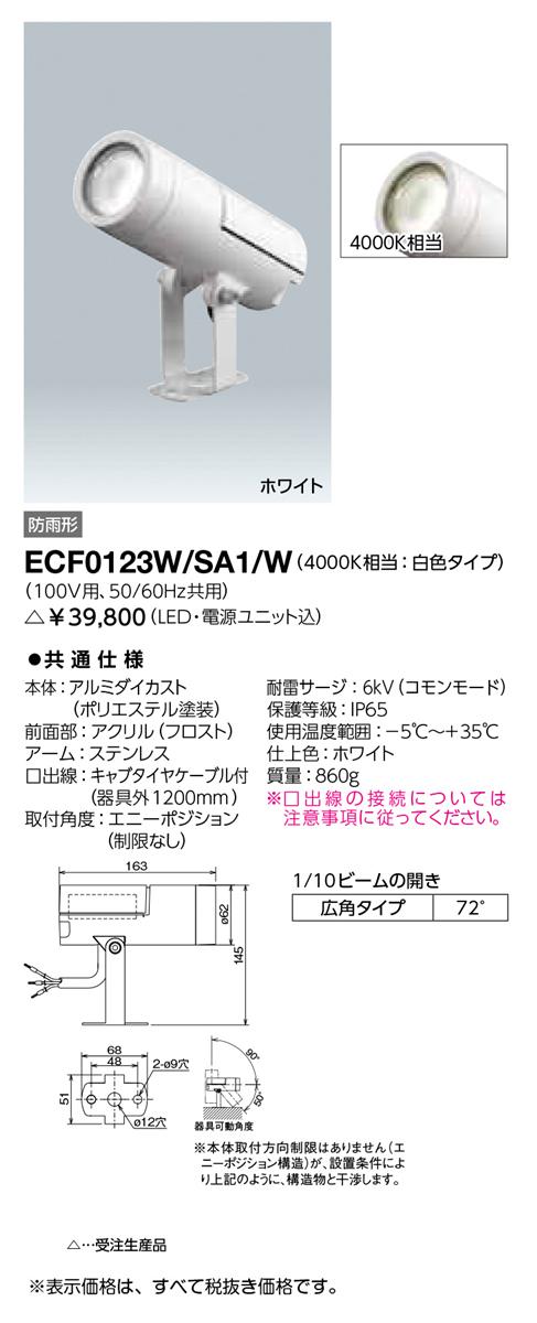 ECF0123W/SA1/W 岩崎電気 施設照明 LED投光器 レディオック フラッド ニノ アウトドアスポットライト 広角タイプ 白色 ホワイト