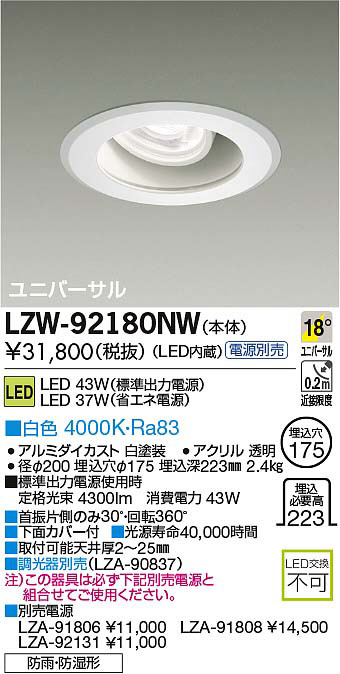 LZW-92180NW 大光電機 施設照明 軒下ユニバーサルダウンライト 埋込175 LZ4C HID70Wタイプ 18°中角形 白色 調光 防湿防雨形