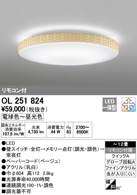 OL251824 オーデリック 照明器具 LEDシーリングライト 調光・調色タイプ リモコン付 【~12畳】