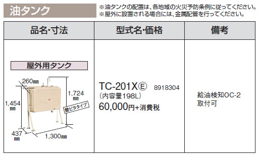 TC-201X(E) コロナ 石油給湯機器 油タンク 屋外用油タンク 内容量:198L