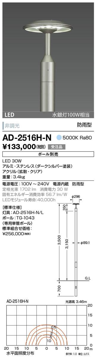 AD-2516H-N 山田照明 照明器具 エクステリア LED一体型ポールライト 昼白色 水銀灯100W相当 非調光 防雨型