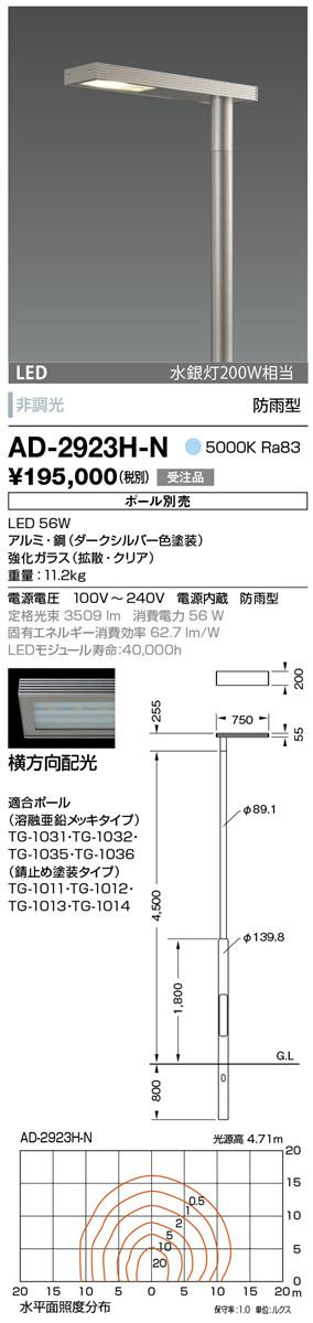 AD-2923H-N 山田照明 照明器具 エクステリア LED一体型ポールライト モノリス 灯具のみ 横方向配光 非調光 昼白色 水銀灯200W相当 防雨型
