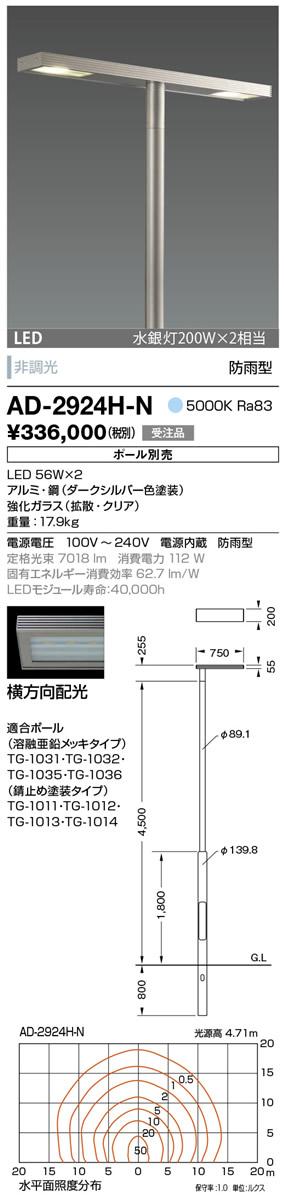 AD-2924H-N 山田照明 照明器具 エクステリア LED一体型ポールライト モノリス 灯具のみ 横方向配光 非調光 昼白色 水銀灯200W×2相当 防雨型