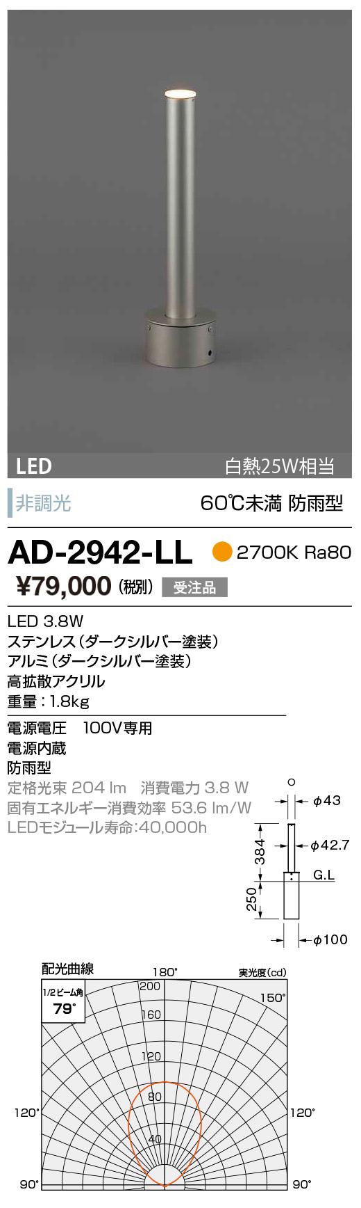 AD-2942-LL 山田照明 照明器具 エクステリア LED一体型スーパースリムガーデンライト アッパー配光 電球色 白熱25W相当 非調光 60℃未満 防雨型