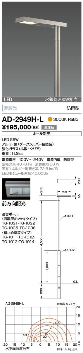 AD-2949H-L 山田照明 照明器具 エクステリア LED一体型ポールライト モノリス 灯具のみ 前方向配光 非調光 電球色 水銀灯200W相当 防雨型