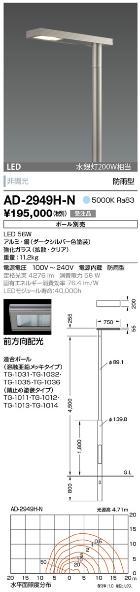 AD-2949H-N 山田照明 照明器具 エクステリア LED一体型ポールライト モノリス 灯具のみ 前方向配光 非調光 昼白色 水銀灯200W相当 防雨型