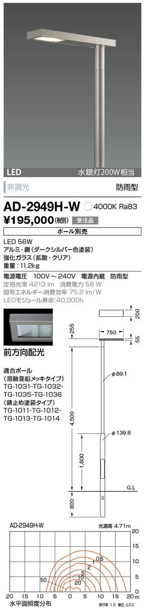 AD-2949H-W 山田照明 照明器具 エクステリア LED一体型ポールライト モノリス 灯具のみ 前方向配光 非調光 白色 水銀灯200W相当 防雨型
