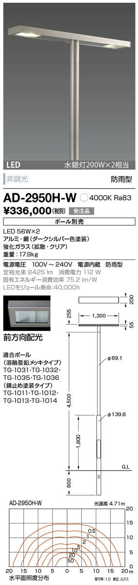 AD-2950H-W 山田照明 照明器具 エクステリア LED一体型ポールライト モノリス 灯具のみ 前方向配光 非調光 白色 水銀灯200W×2相当 防雨型