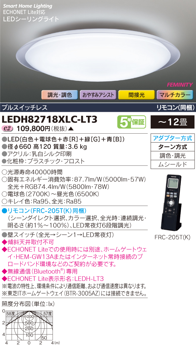 LEDH82718XLC-LT3 東芝ライテック 照明器具 HEMS対応 マルチカラーLEDシーリングライト FEMINITY 調光・調色 間接光 【~12畳】