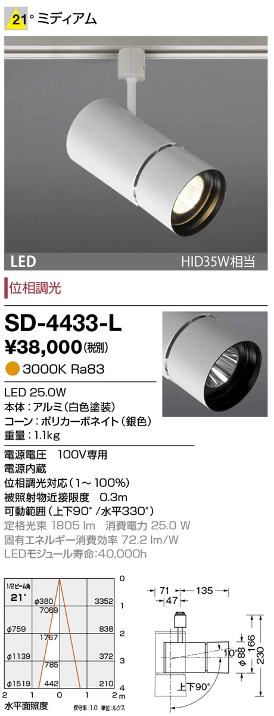SD-4433-L 山田照明 照明器具 LED一体型スポットライト エムズ ダクトプラグ 調光 電球色 HID35W相当