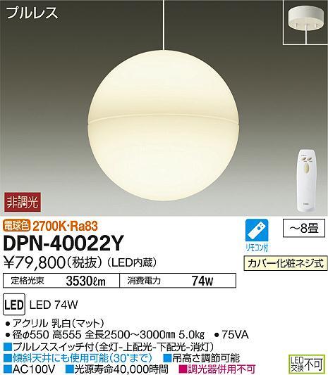 DPN-40022Y 大光電機 照明器具 LEDペンダントライト 吹抜け・傾斜天井用 電球色 非調光タイプ 【~8畳】