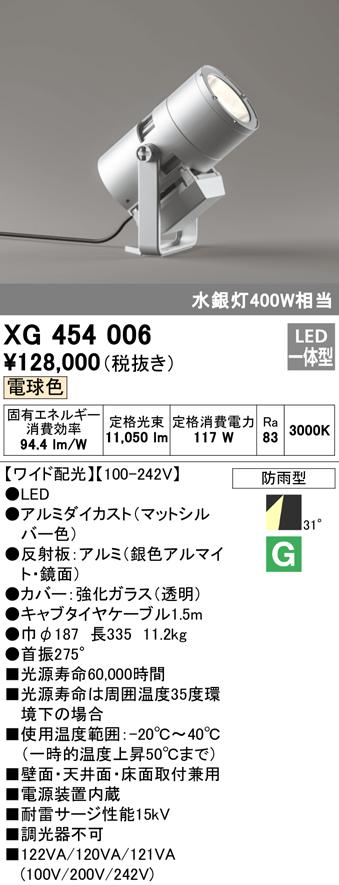 XG454006 オーデリック 照明器具 エクステリア ハイパワーLED投光器 水銀灯400Wクラス 電球色 ワイド配光