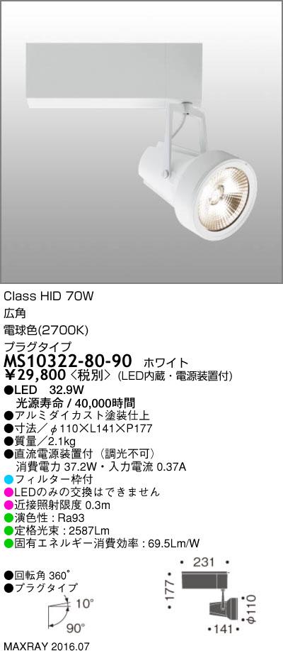 MS10322-80-90 マックスレイ 照明器具 基礎照明 GEMINI-L LEDスポットライト 広角 プラグタイプ HID70Wクラス 電球色(2700K) 非調光