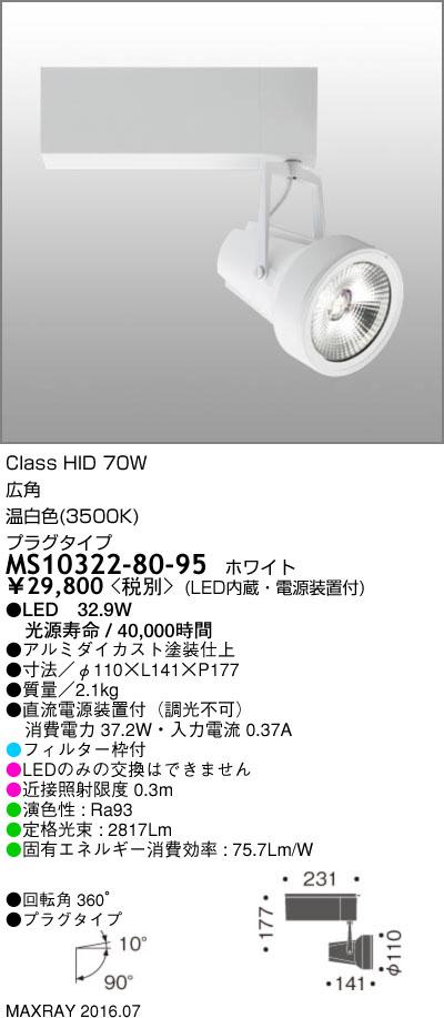 MS10322-80-95 マックスレイ 照明器具 基礎照明 GEMINI-L LEDスポットライト 広角 プラグタイプ HID70Wクラス 温白色(3500K) 非調光