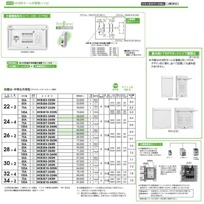HCB3E7-262N 日東工業 ホーム分電盤 HCB形ホーム分電盤 ドア付 リミッタスペースなし 付属機器取付スペース付 露出・半埋込共用型 主幹3P75A 分岐26+2