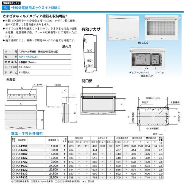 HJ-7832 日東工業 プラボックス 情報通信ボックス 情報分電盤用ボックス・ドア開閉式