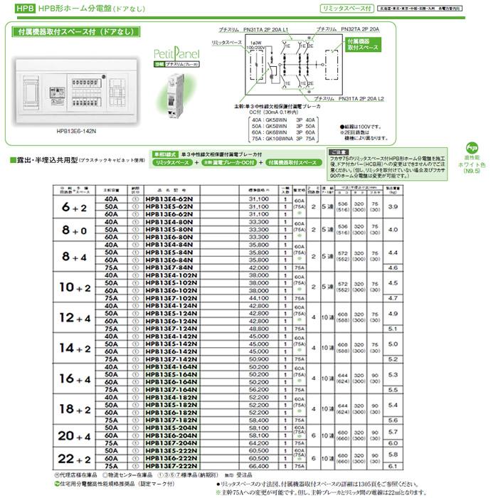 HPB13E6-80N 日東工業 ホーム分電盤 HPB形ホーム分電盤 ドアなし リミッタスペース・付属機器取付スペース付 露出・半埋込共用型 主幹3P60A 分岐8+0