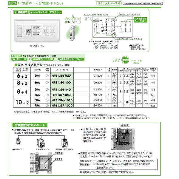 HPB13E7-102D 日東工業 ホーム分電盤 HPB形ホーム分電盤 ドアなし リミッタスペース付 付属機器取付スペース×2付 露出・半埋込共用型 主幹3P75A 分岐10+2