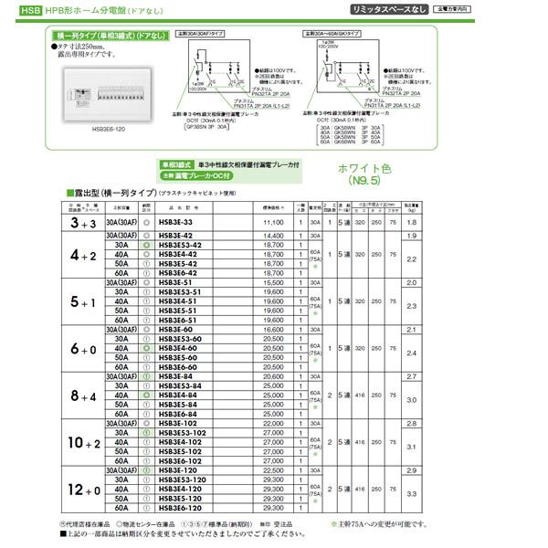 HSB3E53-60 日東工業 ホーム分電盤 HPB形ホーム分電盤 ドアなし リミッタスペースなし 横一列タイプ(単相3線式) 露出型 主幹3P30A 分岐6+0