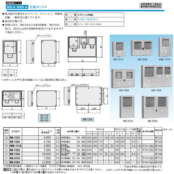 MB-133A 日東工業 プラボックス 計器収納ボックス 化粧ボックス