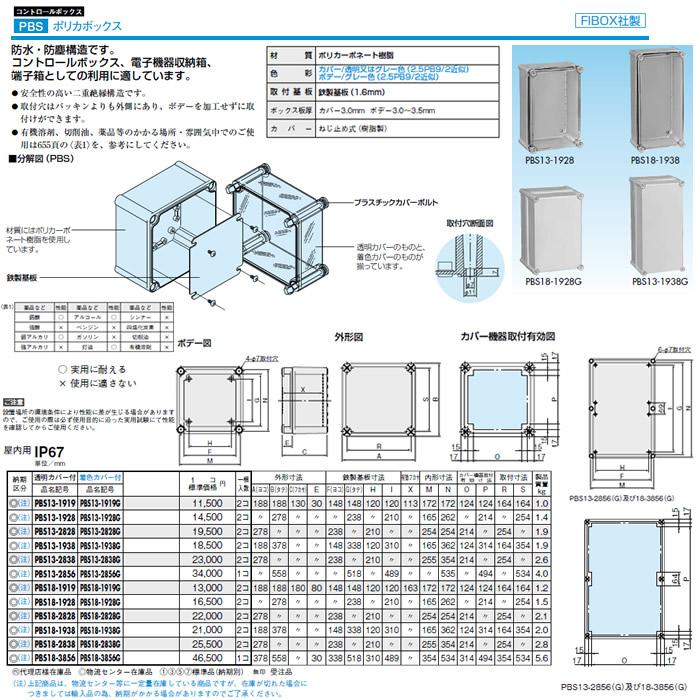 PBS13-2838G 日東工業 プラボックス コントロールボックス ポリカボックス 屋内用 着色カバー付