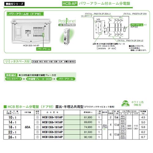 HCB13E6-141AP 日東工業 パワーアラーム付 HCB形ホーム分電盤(ドア付) リミッタスペース付 露出・半埋込共用型 主幹3P60A 分岐14+1