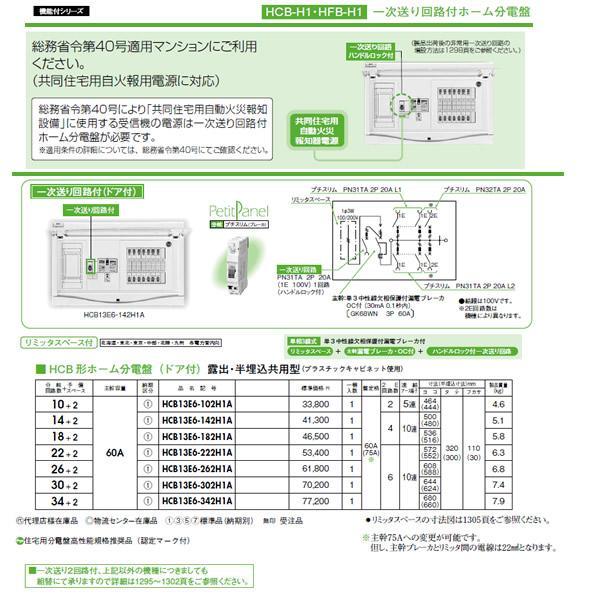 HCB13E6-182H1A 日東工業 一次送り回路付 HCB形ホーム分電盤(ドア付) リミッタスペース付 露出・半埋込共用型 主幹3P60A 分岐18+2