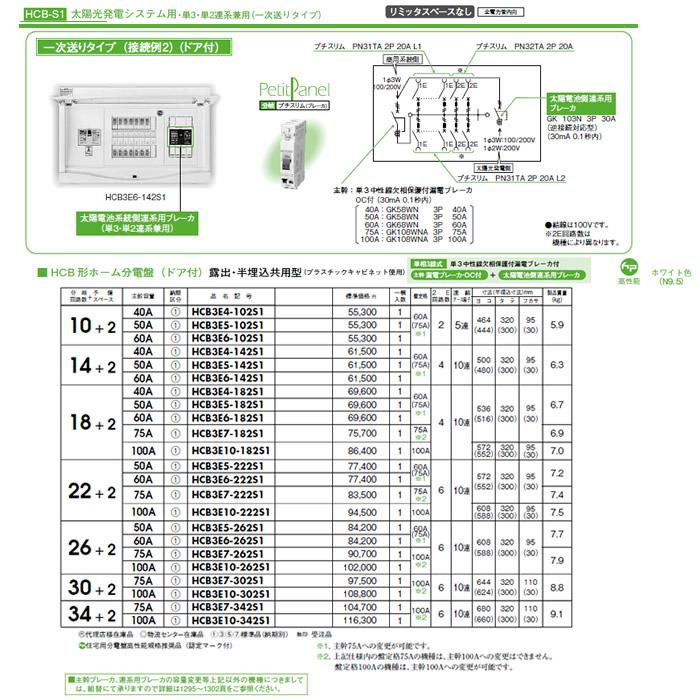 HCB3E7-342S1 日東工業 太陽光発電システム用 HCB形ホーム分電盤 一次送りタイプ(ドア付) リミッタスペースなし 露出・半埋込共用型 主幹3P75A 分岐34+2