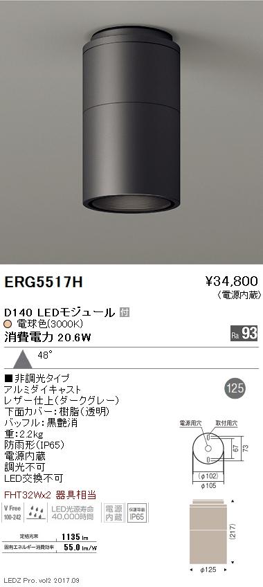 ERG5517H 遠藤照明 施設照明 LED軒下用シーリングダウンライト DUAL-Lシリーズ D140 FHT32W×2器具相当 広角配光48° 非調光 電球色