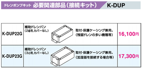 K-DUP22G オーケー器材(ダイキン) エアコン部材 ドレンポンプキット 必要関連部品 接続キット 補助ドレンパン 2リットル用 カバーなし K-DUP22G