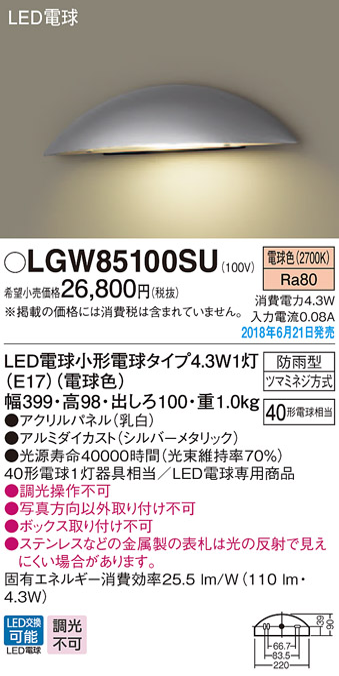 LGW85100SU パナソニック Panasonic 照明器具 LED表札灯 電球色 防雨型 パネル付型 白熱電球40形1灯器具相当 LGW85100SU