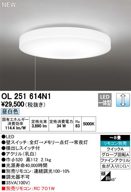 OL251614N1 オーデリック 照明器具 LEDシーリングライト 昼白色 調光タイプ 引きヒモスイッチ付 【~8畳】